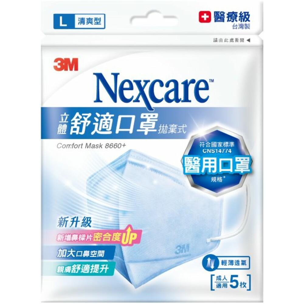 3M_8660-醫療級口罩舒適口罩拋棄式清爽型5片包:M/L