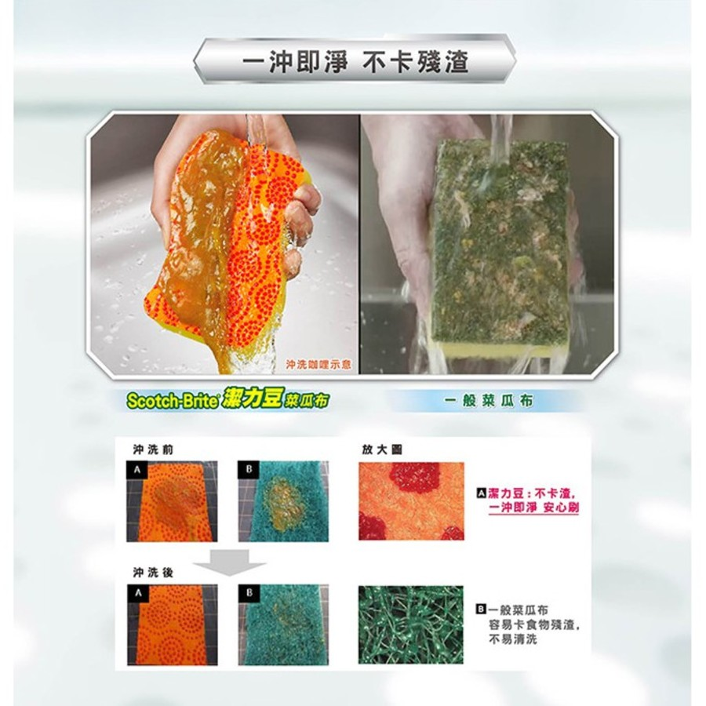 3M 百利潔力豆海綿菜瓜布2入:綠色、橘色