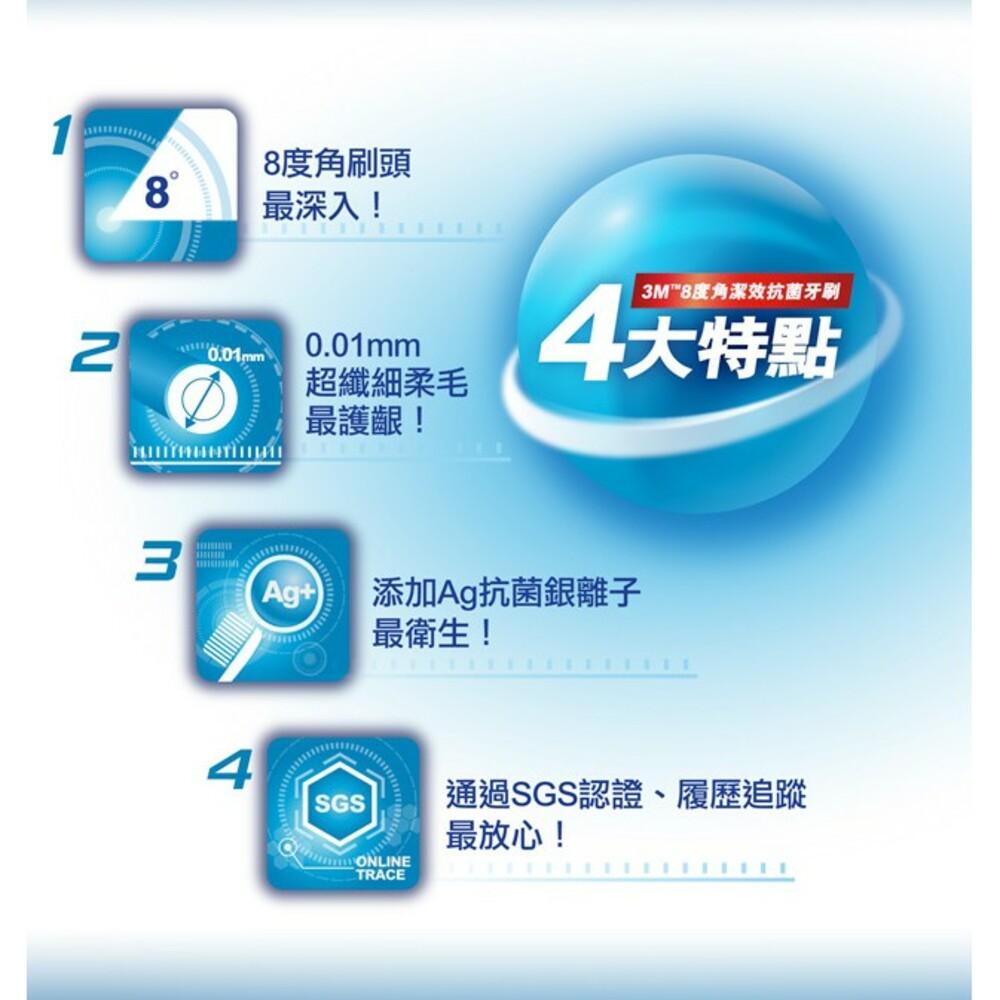 3M 8度角潔效抗菌牙刷1入(顏色隨機出貨):小刷頭/標準