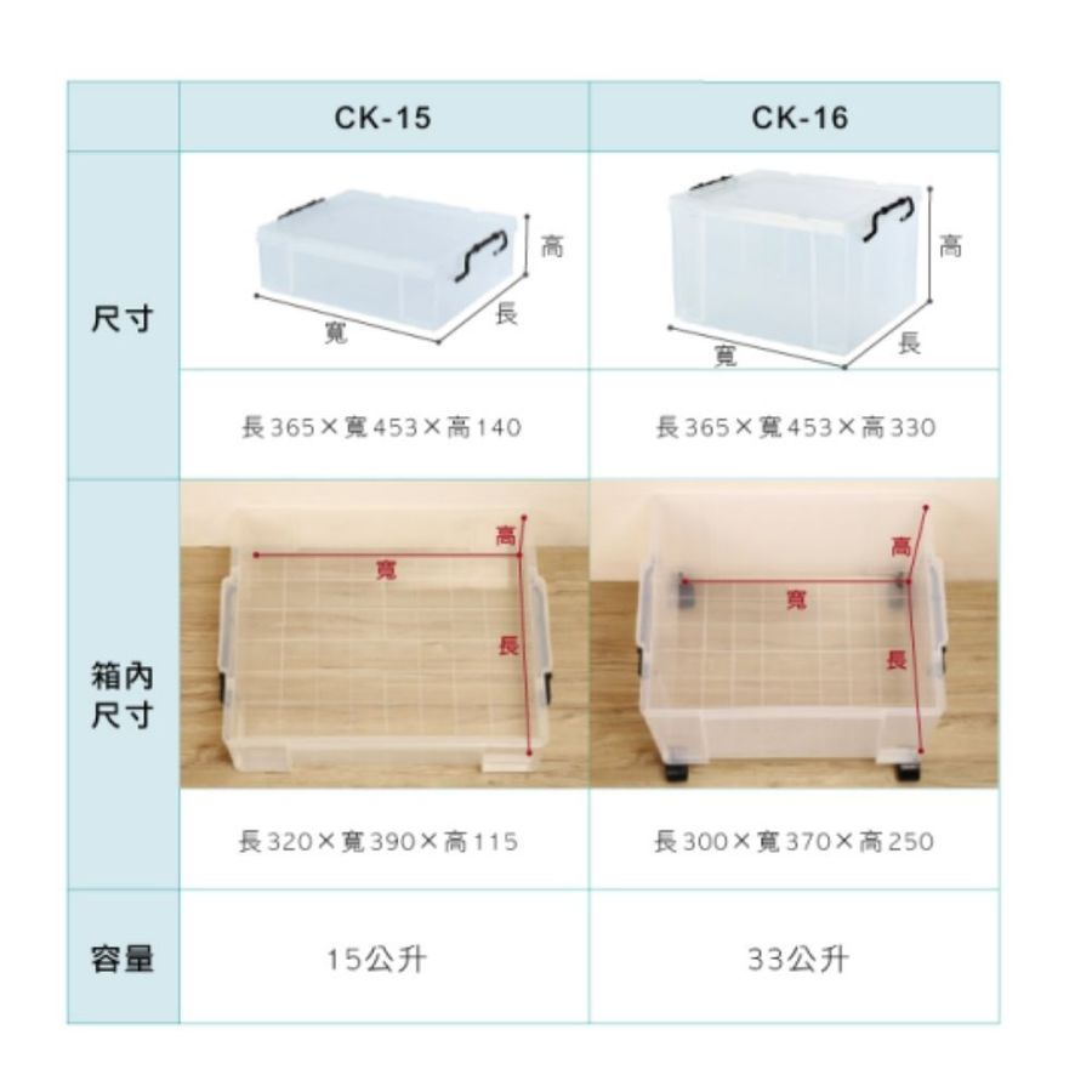 KEYWAY耐久16型透明整理箱33L收納箱CK-16