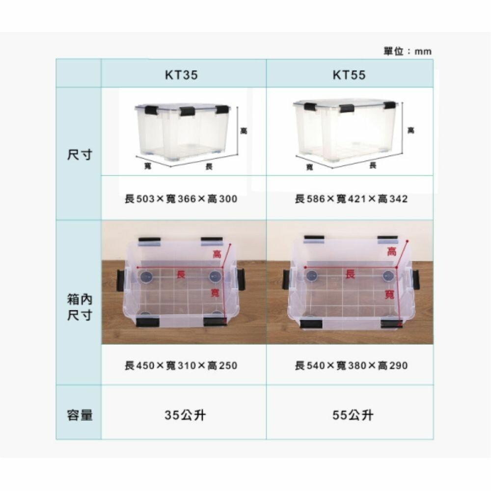 KEYWAY Fine透明防潮整理箱35L附輪 收納箱