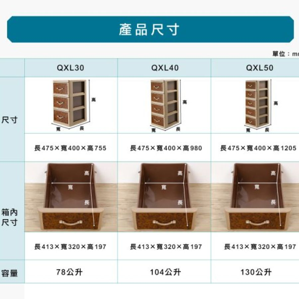 聯府 核桃木四層櫃(附輪) QXL-40