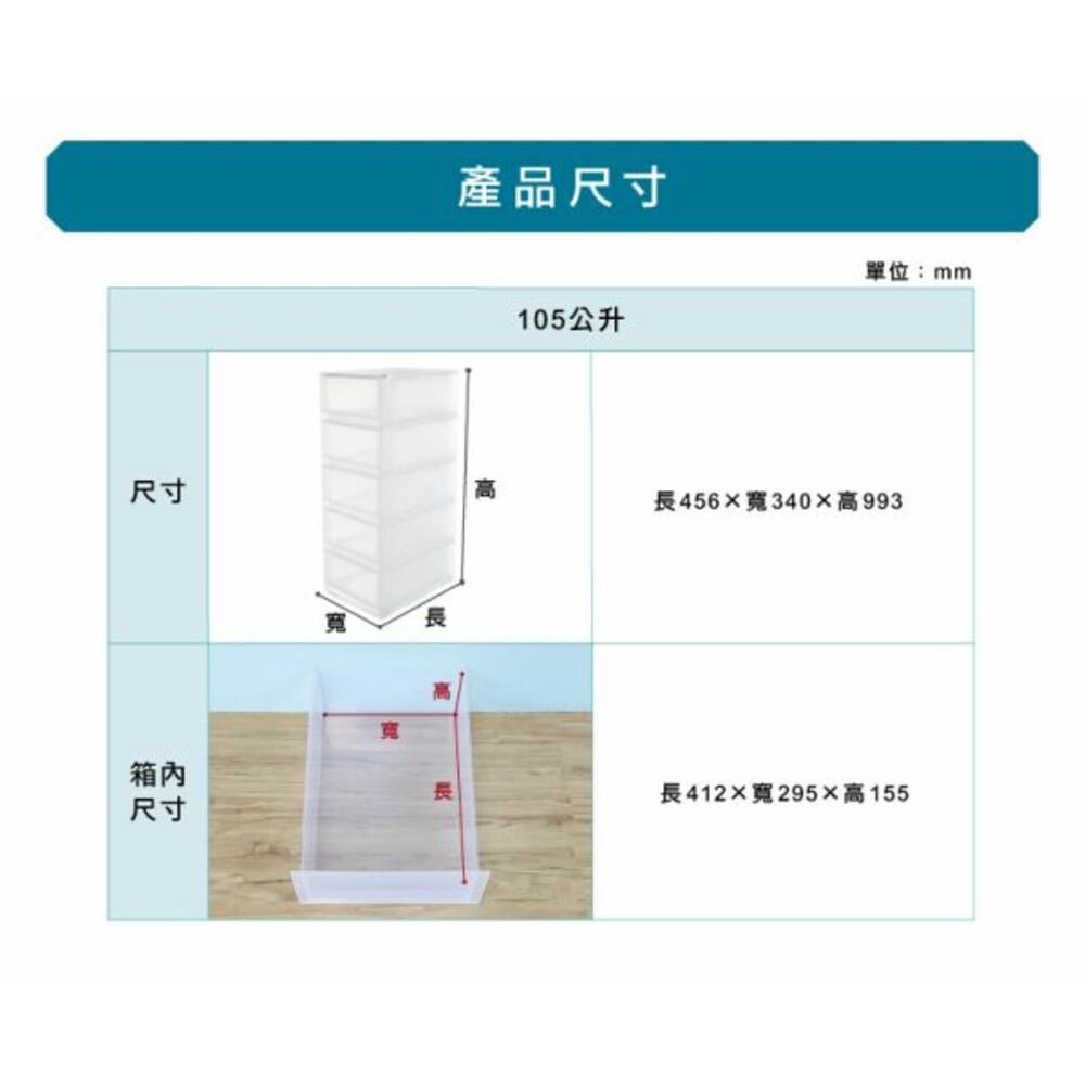 透明五層櫃105L附輪 LF-3405