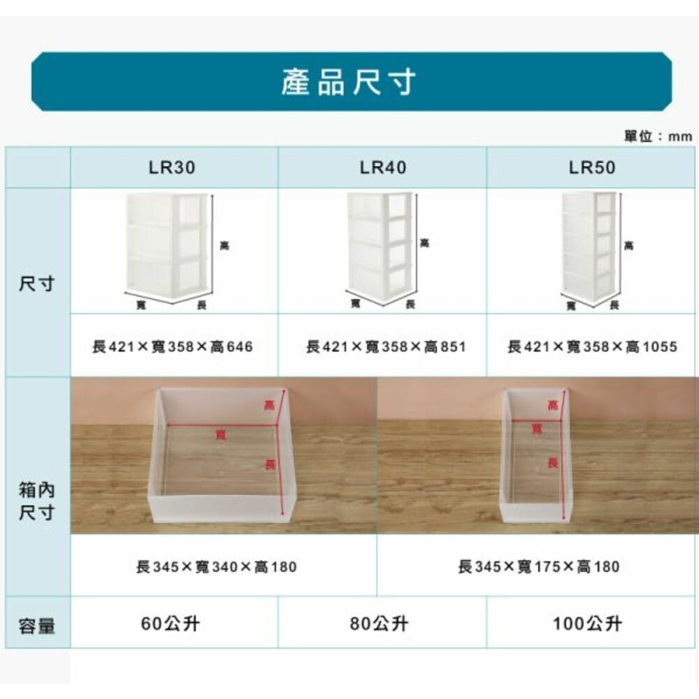 KEYWAY集寶透明四層櫃80L附輪LR-40(2小3大抽)