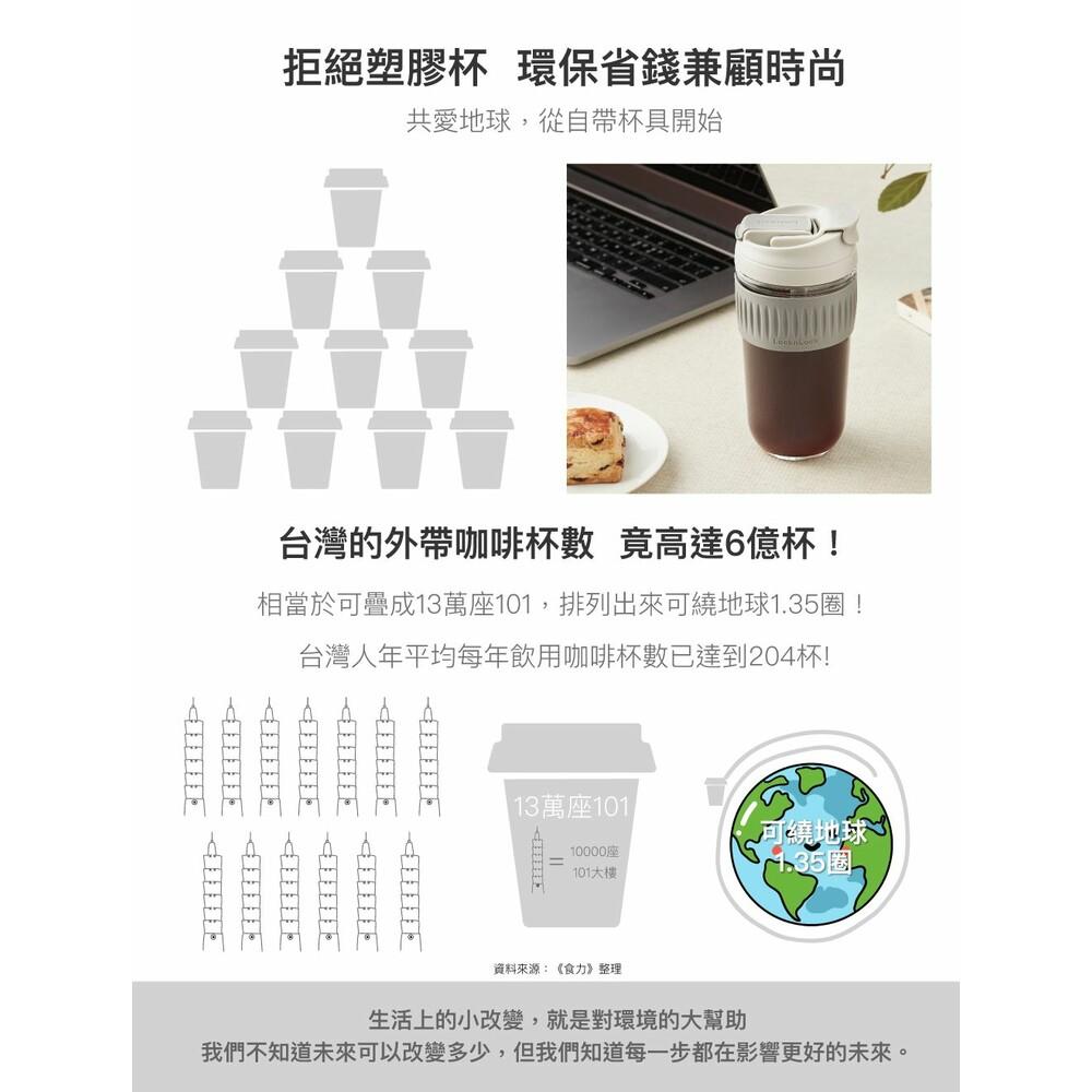 樂扣樂扣  清新玻璃兩用隨行杯500ML  超商咖啡杯/玻璃杯LLG-699
