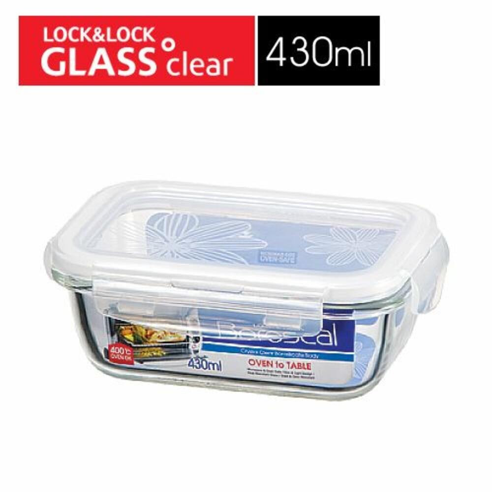 LOCK-LLG424 - 樂扣樂扣第三代耐熱玻璃保鮮盒/長方形/430ml(LLG424)