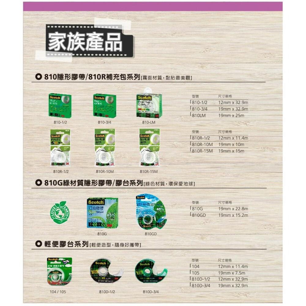 3M百利隱形膠帶補充包:810盒裝19mm x 32.9m/盒裝12mm*32.9m /輕便補充包19mmx10m