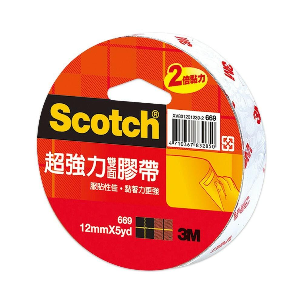S1-000778-3M Scotch 669超強力雙面膠帶:12 mm /18mm/ 24mm   棉紙膠帶的2倍黏力