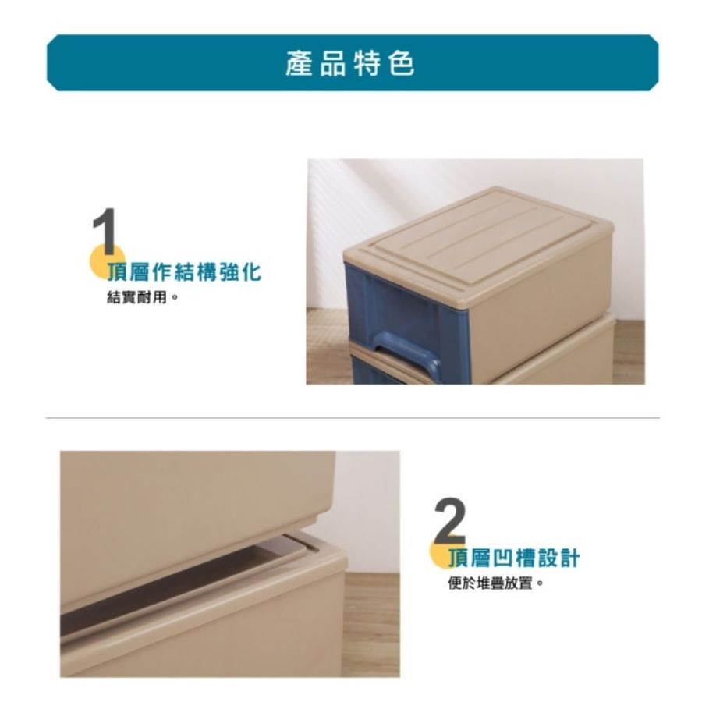 MIT 彩紅抽屜整理箱35L單入收納箱